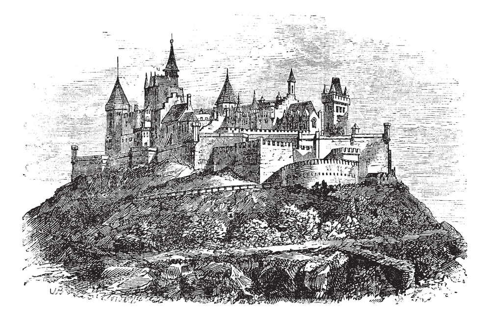 Hohenzollern Castle or Burg Hohenzollern in Stuttgart, Germany