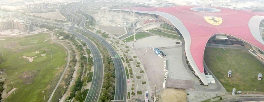 Aerial view of Ferrari World Park is the largest indoor amusement park in the world.