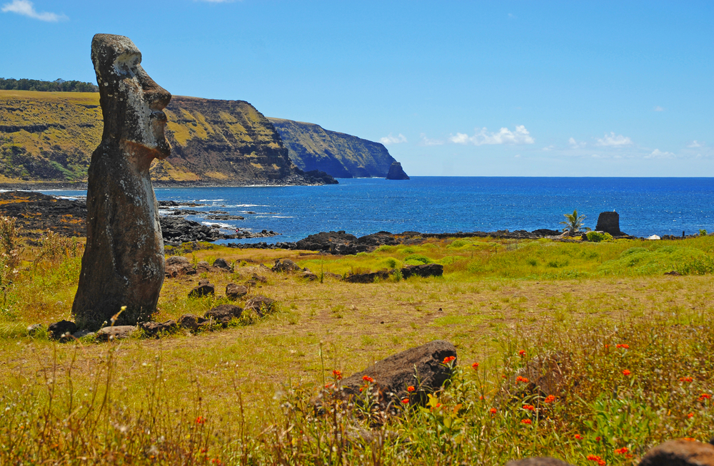 Solitary Easter Island Statue