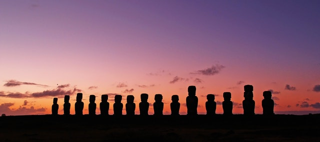 Easter Island Statues at Sunset