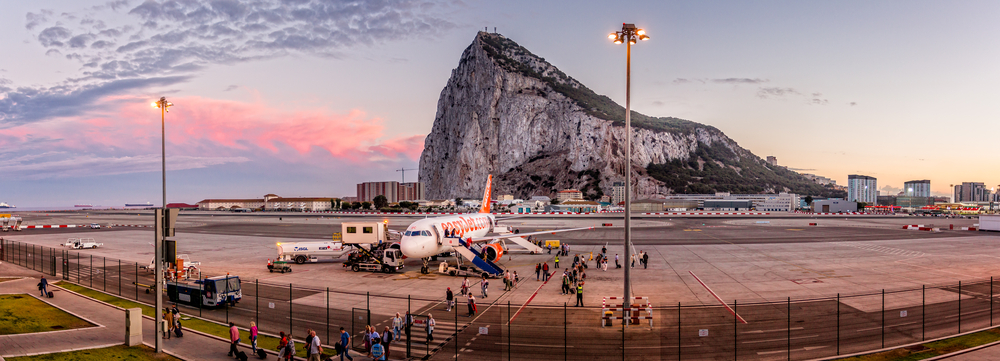 Gibraltar airport and The Rock taken from Gibraltar international Airport, Gibraltar on 29 September 2015