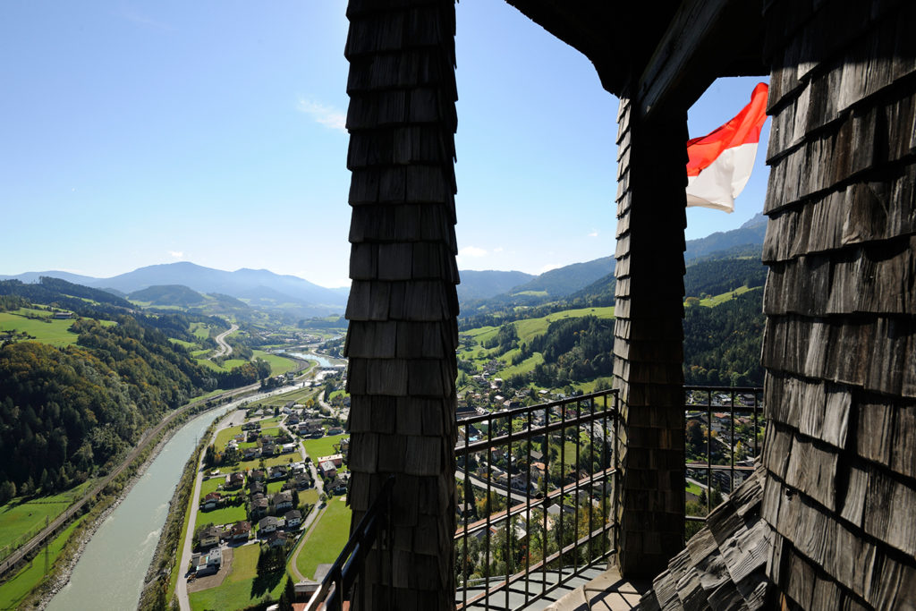 view from the bell tower at hohenwerfen tower