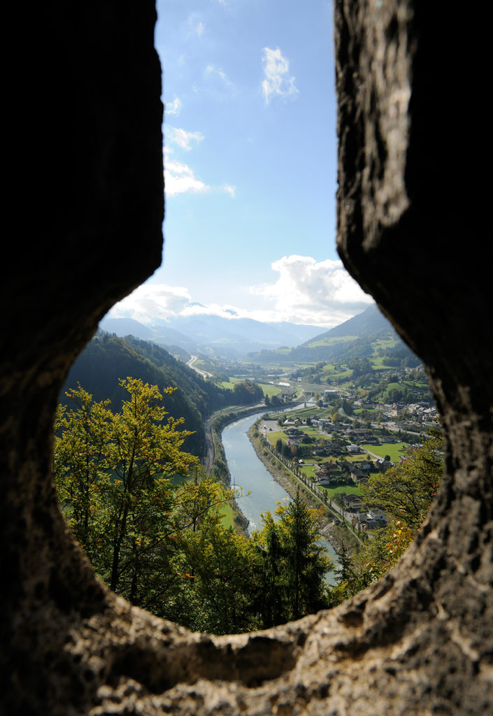 view from the bell tower at hohenwerfen castle